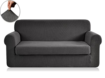 Chunyi 2 Piece Jacquard Polyester Spandex Sofa Slipcover (Sofa, Gray)