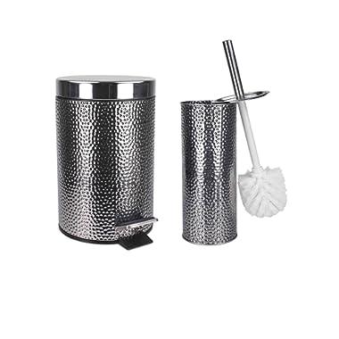 Home Basics WBKIT Accessory Set, Brush and Wastebin, Silver