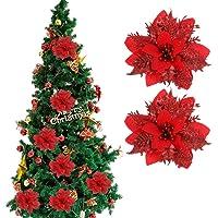 Nuobesty 24 peças de flores artificiais de Natal tipo poinsétia, acessórios para decoração de árvore de Natal…
