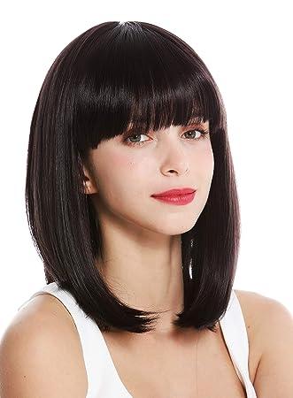 Wig Me Up Vk 1 3hdeepviol Quality Women S Wig Short Shoulder Length Long Bob Fringe Sleek Dark Brown Violet