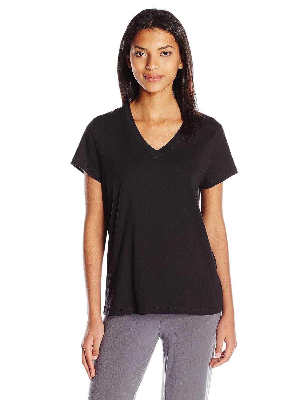 Hue Womens Short Sleeve V-Neck Black Tee Hue Women's Sleepwear PJ34158
