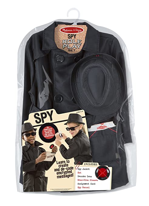 Amazon Com Melissa Doug Spy Role Play Costume Set Black