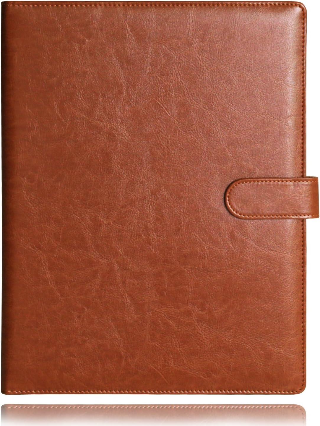 Laconile carpeta A4portapapeles, portadocumentos rellenable, cartera organizadora de piel sintética resistente, color marrón 25X32cm