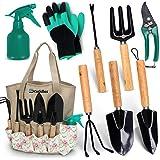 Scuddles Garden Tools Set - 8 Piece Heavy Duty Gardening Kit with Storage Organizer, Ergonomic Hand Digging Weeder Rake Shove