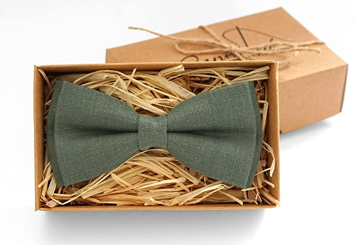 2aa31e846a65 Pine green linen bow ties for men and toddler boys as unique gift for  father and son, forest green wedding bow ties for groomsmen and ring bearer  available ...