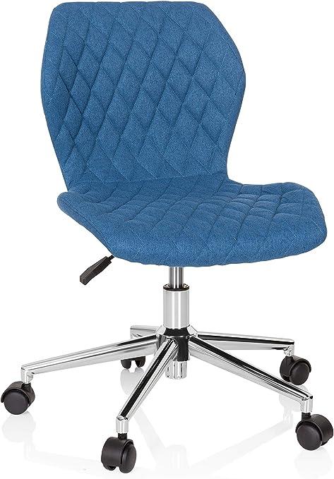 hjh OFFICE 670952 Chaise d'enfant et Adolescent Joy II Tissu Bleu Fauteuil de Bureau avec roulettes, grandit avec toi