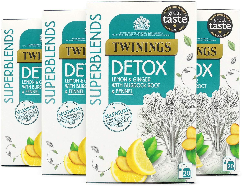 Twinings Superblends Detox 80 Tea Bags (Multipack of 4 x 20 Bags)