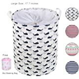 Laundry Basket For Dorm, Aowin Collapsible Waterproof Dirty Clothes Hamper with Large Size 13.7x 17.7inches for Home, Office, Closet, Bedrooms, Bathrooms, College Dorm (blue(17.7))