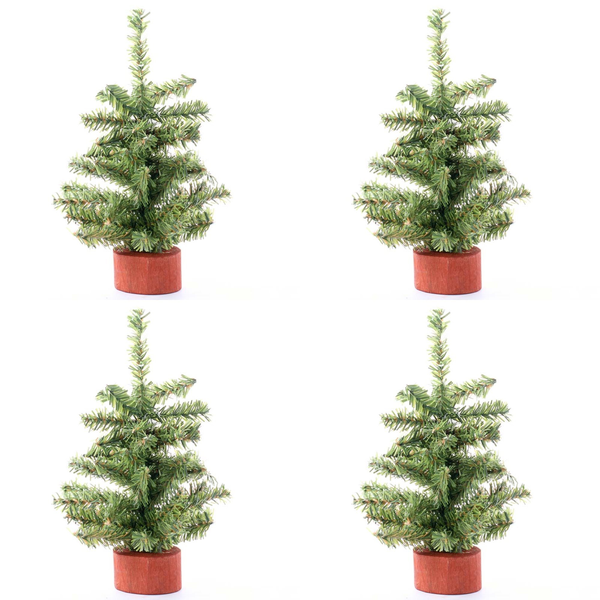 8'' Mini Artificial Pine Trees with Real Wood Base - Package of 4 Trees