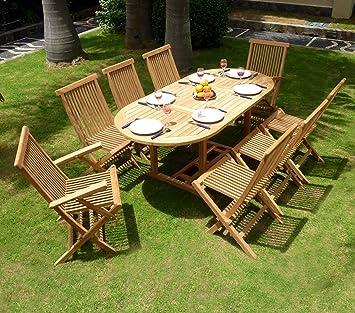 Wood-en-Stock Salon de jardin en teck pour 8 personnes - table ovale ...