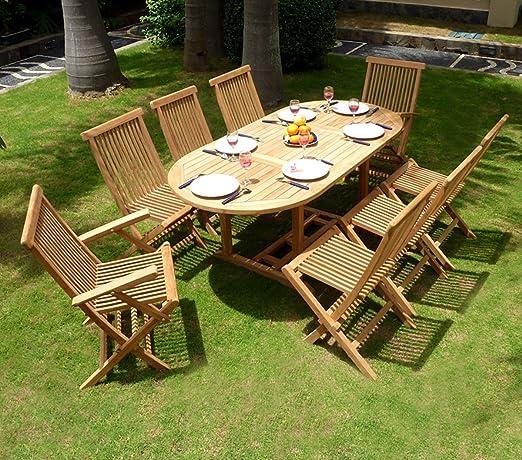 Salon de jardin en teck pour 8 personnes - table ovale ...