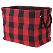 DII Polyester Storage Basket or Bin with Durable Cotton Handles, Home Organizer Solution for Office, Bedroom, Closet, Toys, Laundry, Medium, Red & Black
