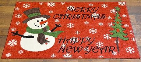 Christmas Doormat Non Slip Rectangular 24u0026quot; X39u0026quot; Xmas Snowman  Design Bathroom ...