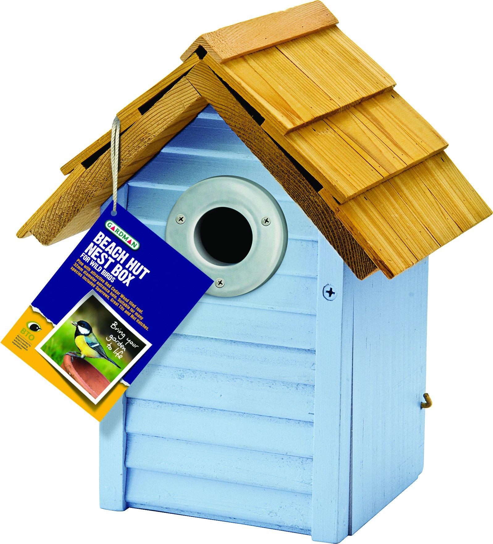 Gardman BA01681 Beach Hut Nest Box, Blue by Gardman