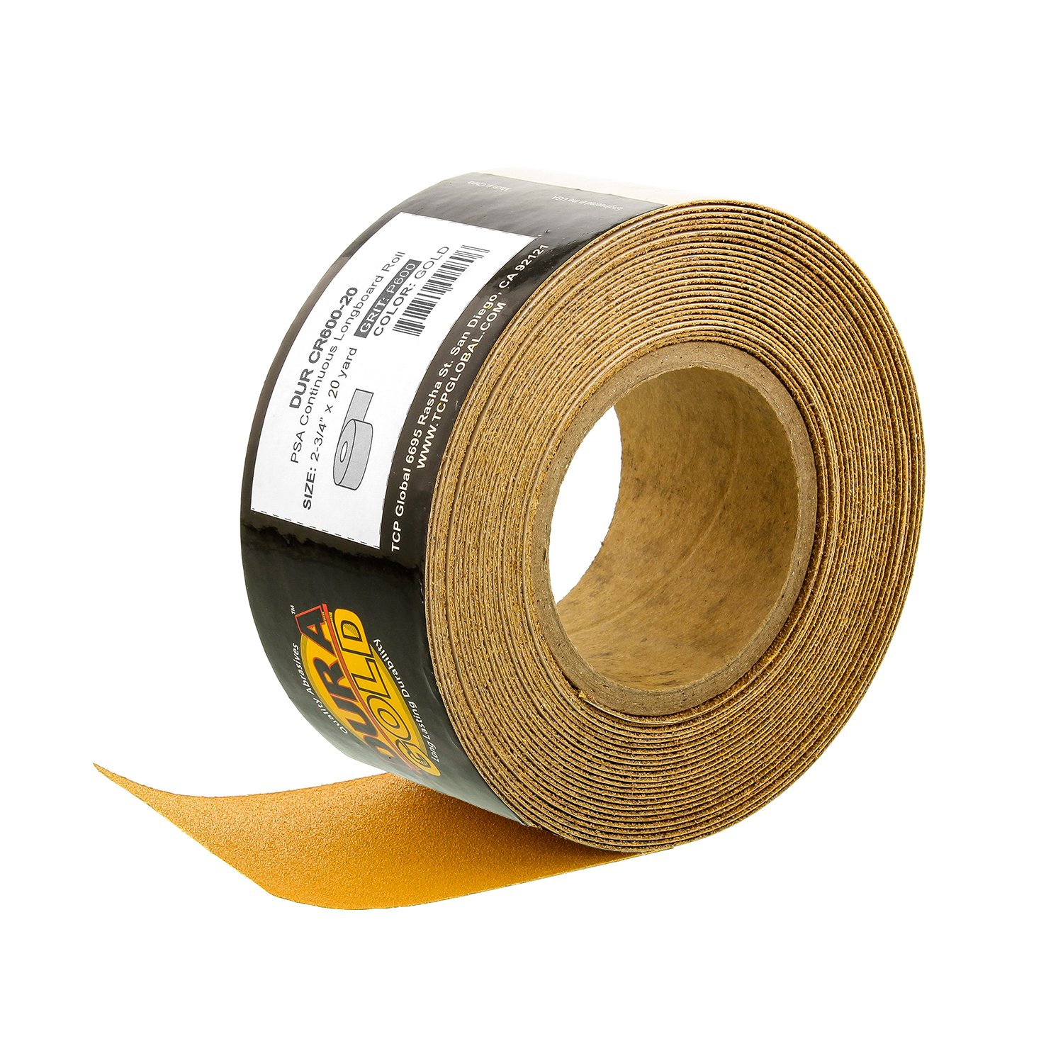 Dura-Gold Premium - 600 Grit Gold - Longboard Continuous Roll 20 Yards Long by 2-3/4'' Wide PSA Self Adhesive Stickyback Longboard Sandpaper for Automotive and Woodworking