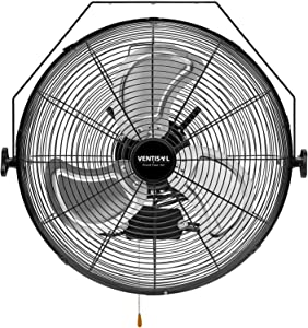 VENTISOL 18 Inch Wall Mounted Fan 4,012CFM High Velocity 3 Speed Adjustable Tilting Full Sealed Motor for Home, Commercial, Residential,Warehouse, Workshop,Black