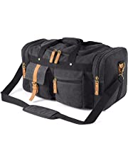 Plambag Oversized Canvas Duffel Bag Overnight Travel Tote Weekend Duffle Bag Dark Gray
