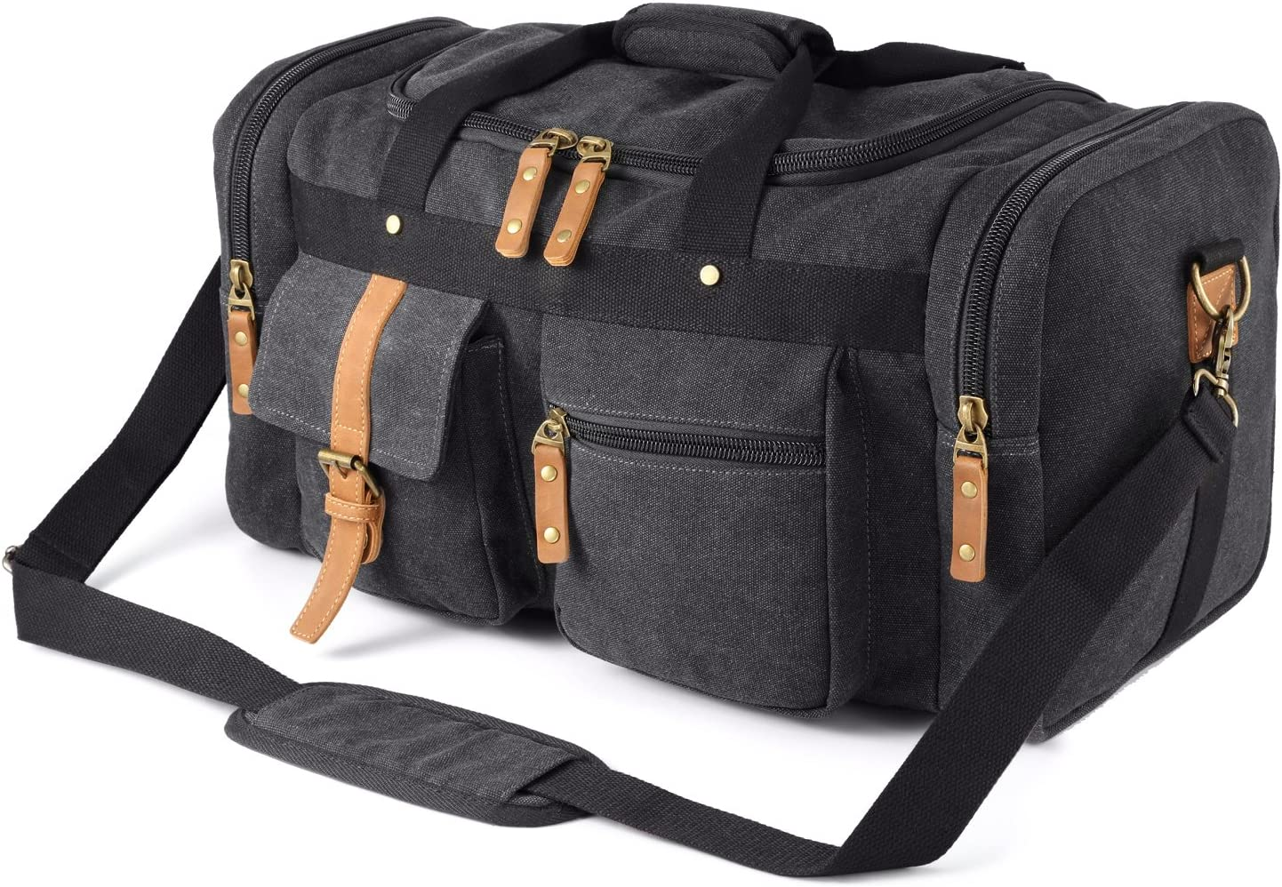 Plambag Large Canvas Duffel Bag Overnight Travel Tote Weekend Bag Dark Gray