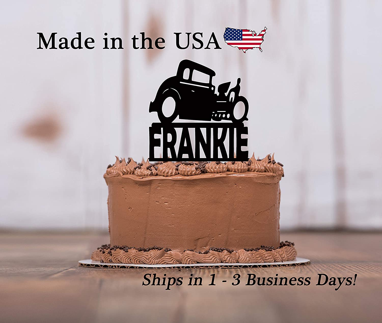 Hot Rod Car, Cake Topper, Roadster,Drag Racer, party Decor, Vintage Car, Boy's Birthday Party, Cake Decorations, Car, LT1288 WITH KEEPSAKE BASE