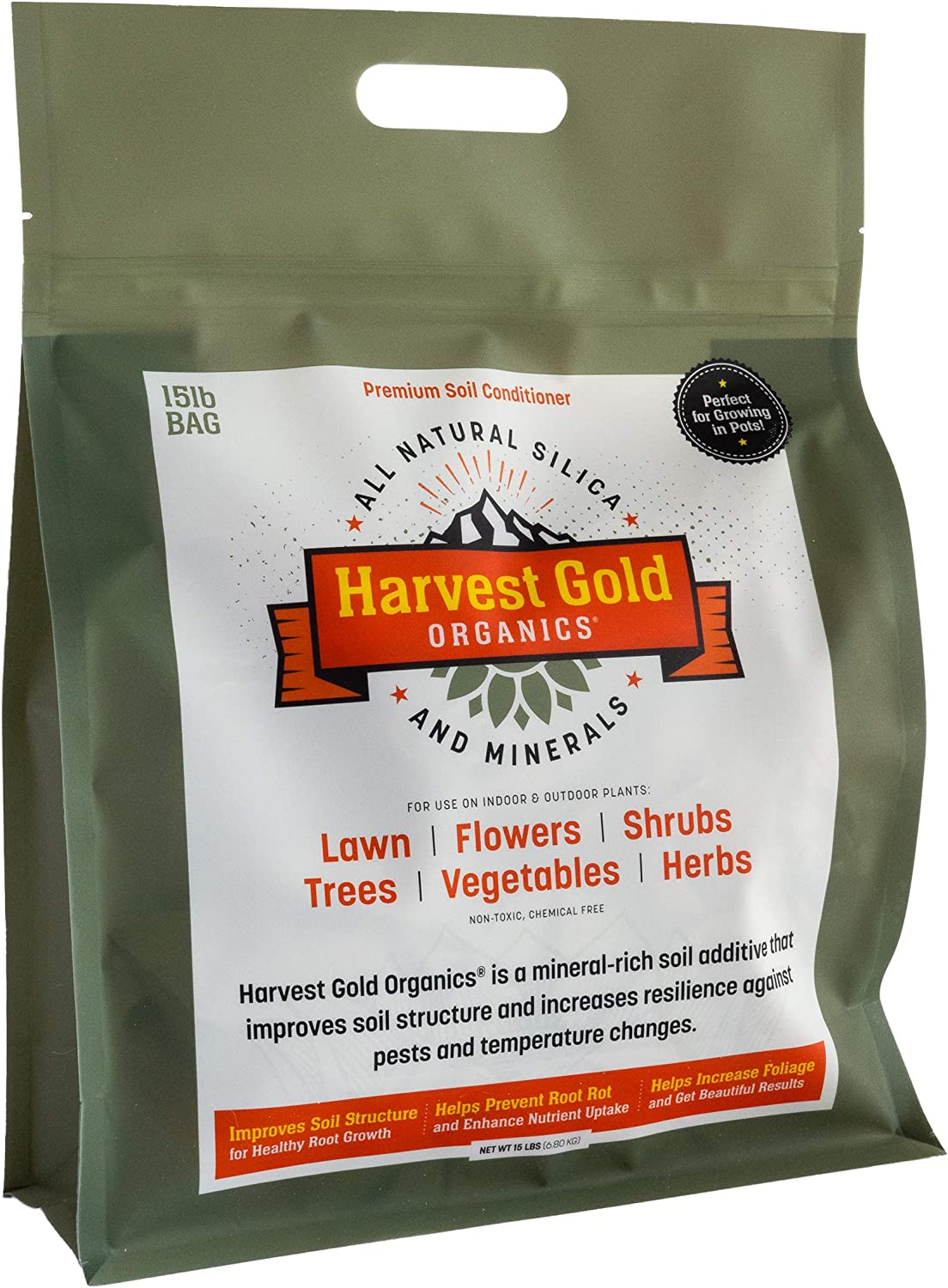 Harvest Gold Organics - Organic Soil Conditioner, Natural Soil Amendment for Houseplants, Flowers, Lawns, Gardens and Trees, Provides Natural Silica and Micronutrients for Plants (15 Pound Bag)