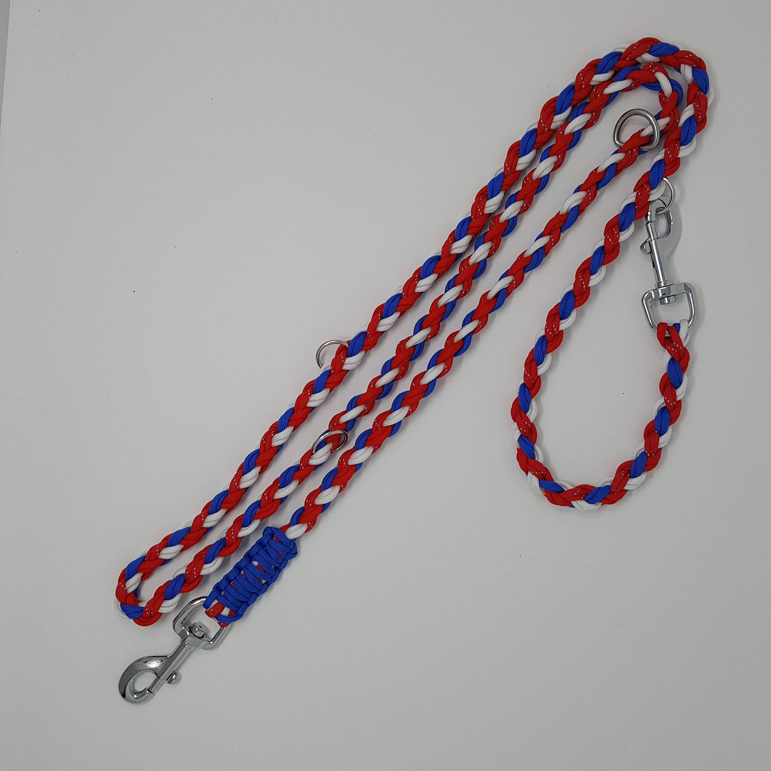 para Cord Double Ended Versatile Hands-Free Dog Walking or Training Leash (6 Foot Adjustable, Red/White/Blue/Reflective)