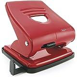 Rapesco 827 - Perforadora metálica, 2 agujeros, 30 hojas de capacidad, color rojo