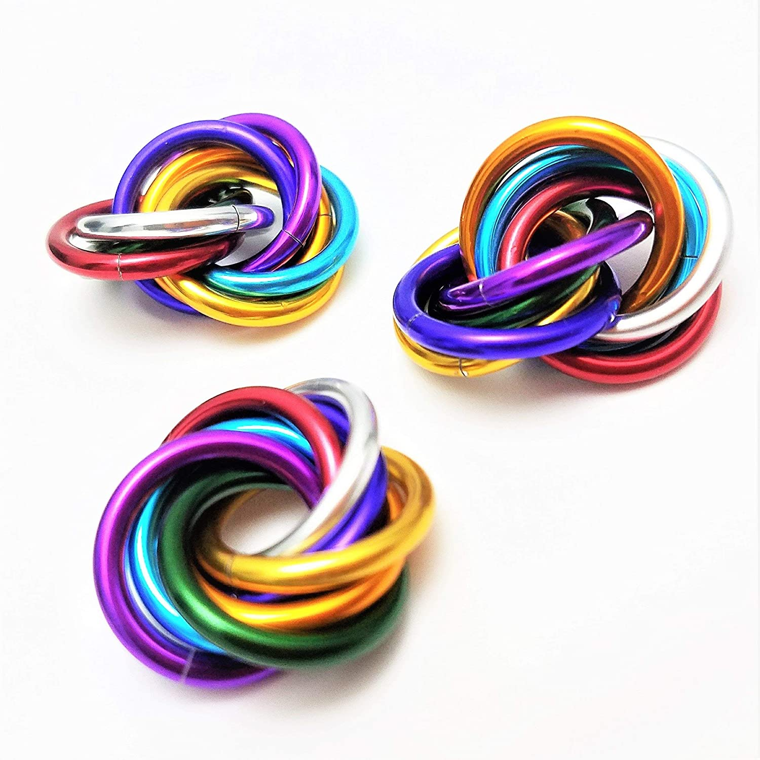 Half Möbii Rainbow (3 Pack): Small Mobius Hand Fidget Toy, Shiny Stress Rings for Restless Hands, Office Toy