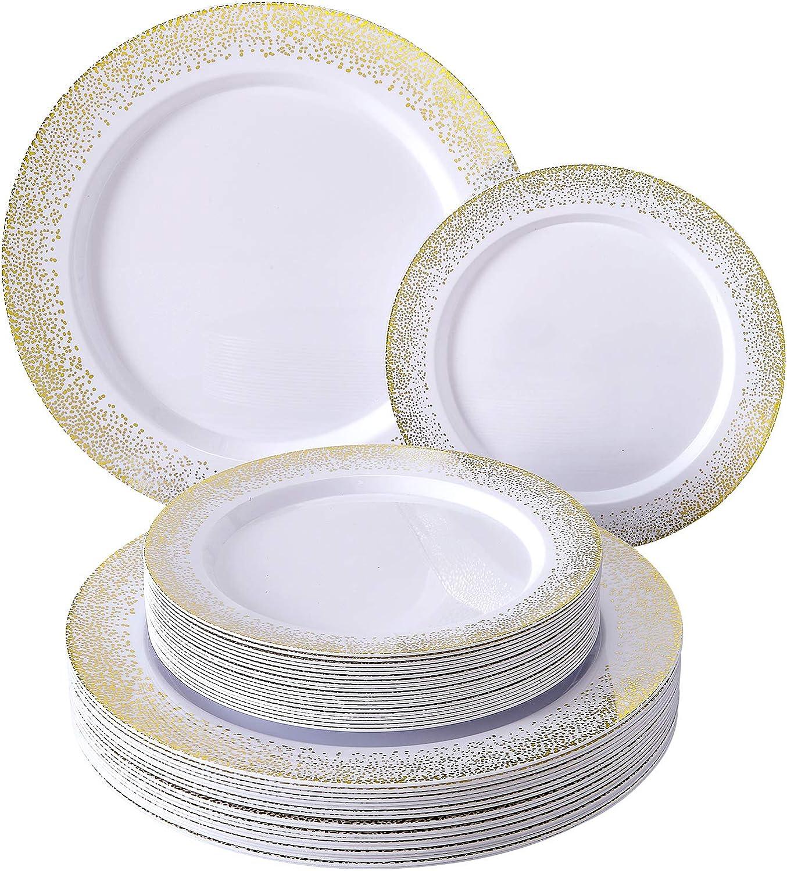 PLASTIC DINNERWARE PLATES | Set Of 40 Plates | Ocean Mist Collection (Gold/White)
