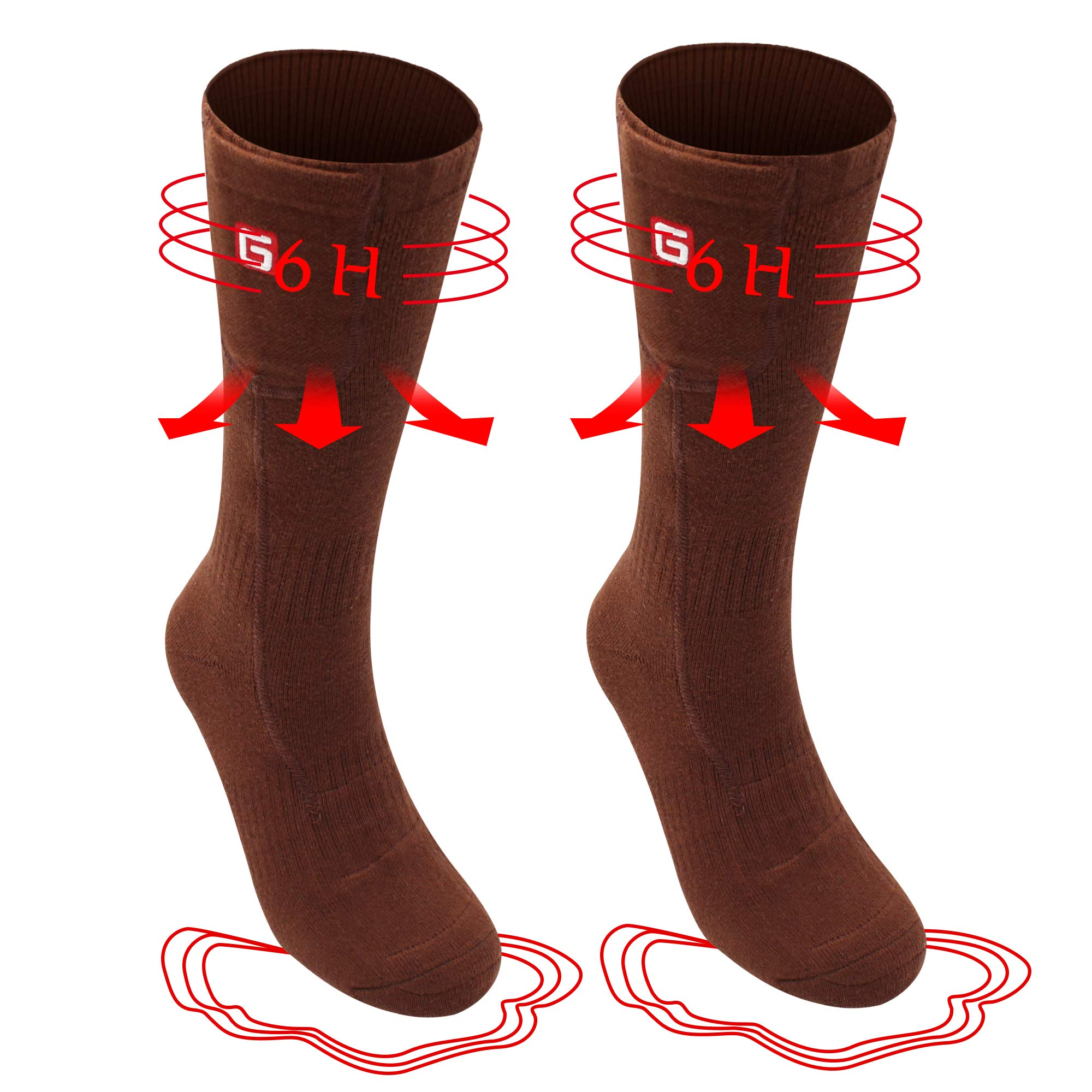 Rechargeable Electric Heated Socks Battery Powered Comfortable Thermal Stockings 3 Heating Settings Winter Cotton Warm Unisex Novelty Insulated Heated Sox Kits for Cold Feet,Heating up to 3-6.5 Hours by Daintymuse