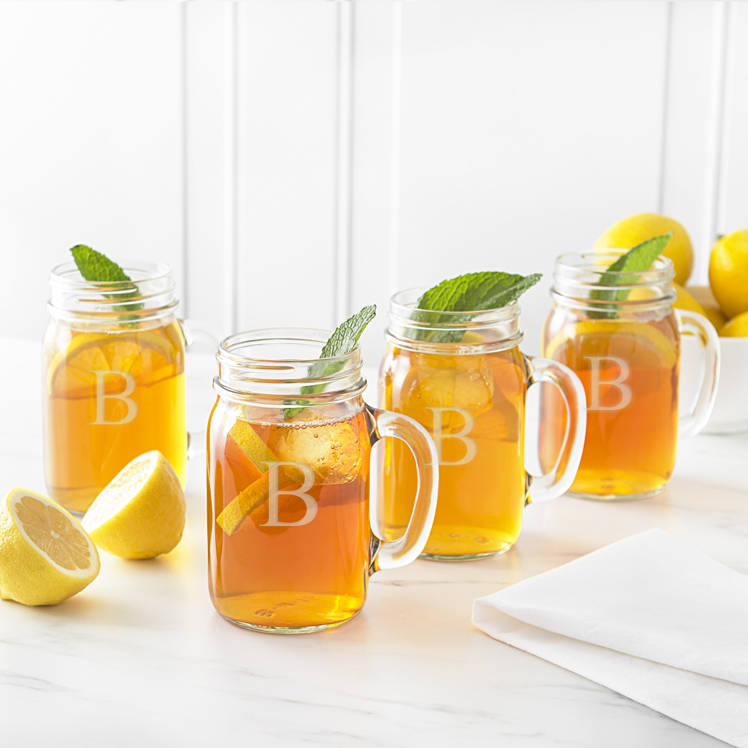 Cathy's Concepts Personalized Mason Jar Glasses, Set of 4, Letter B