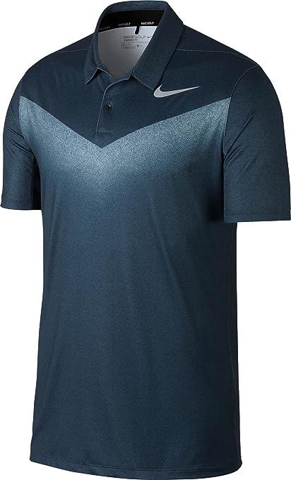 Nike Men's Dry Chevron Print Golf Polo (Armory Navy/White, ...