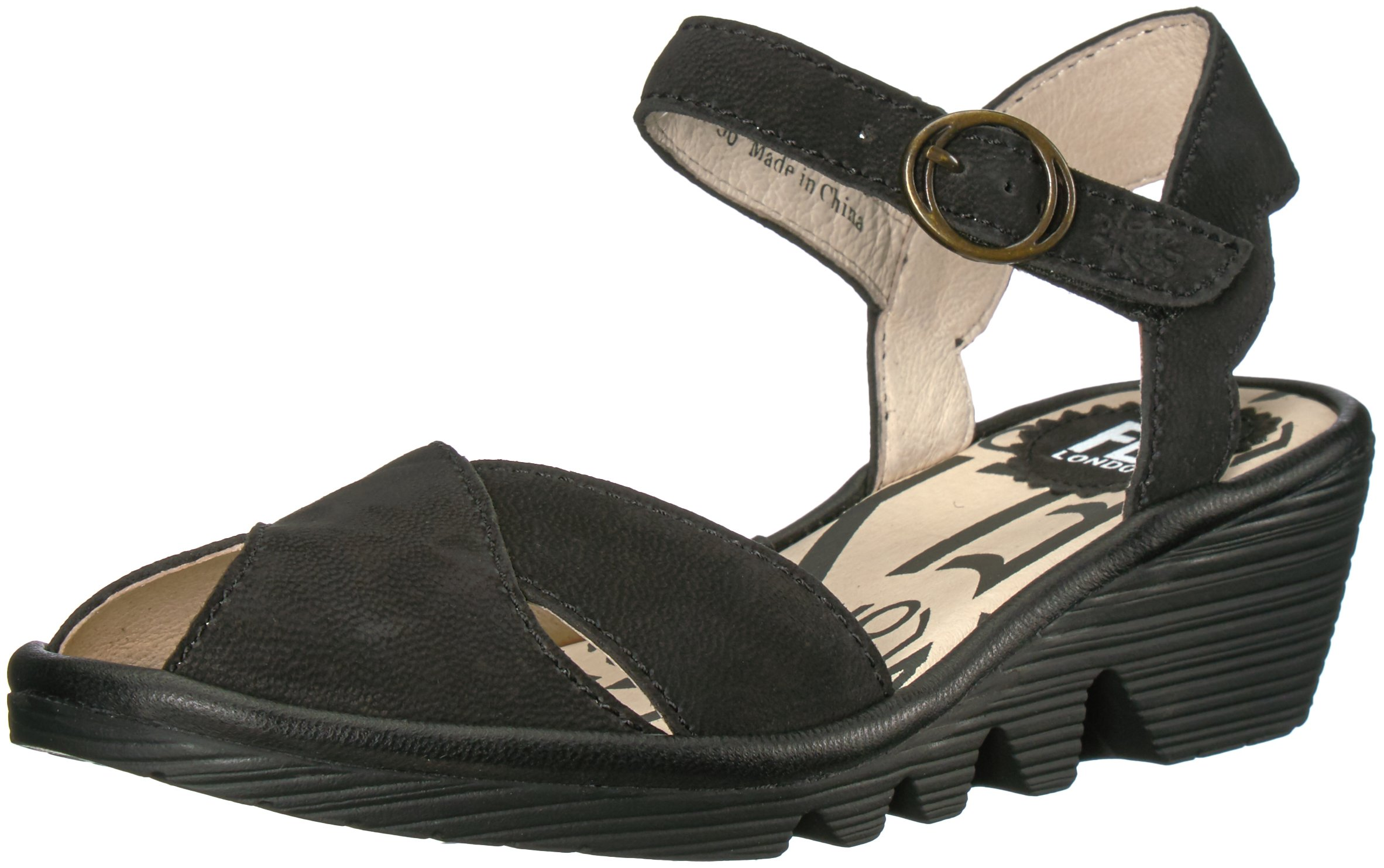 FLY London Women's Pero706fly Wedge Sandal, Black Cupido/Mousse, 41 EU/10-10.5 M US