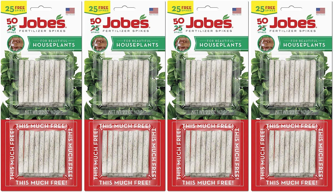 Jobes 5001T Houseplant Plant Food Spikes 13-4-5 50 Pack,Multicolor (Pack of 4)