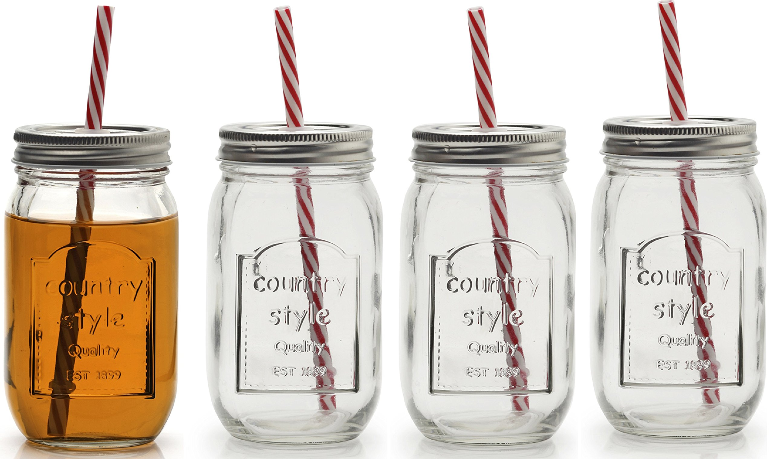 Circleware 67025 Country Mason Jar Mug Beverage Drinking Glasses with Metal Lids & Straws, 16 oz, Mason Chalkboard Jars with Lids And Straws