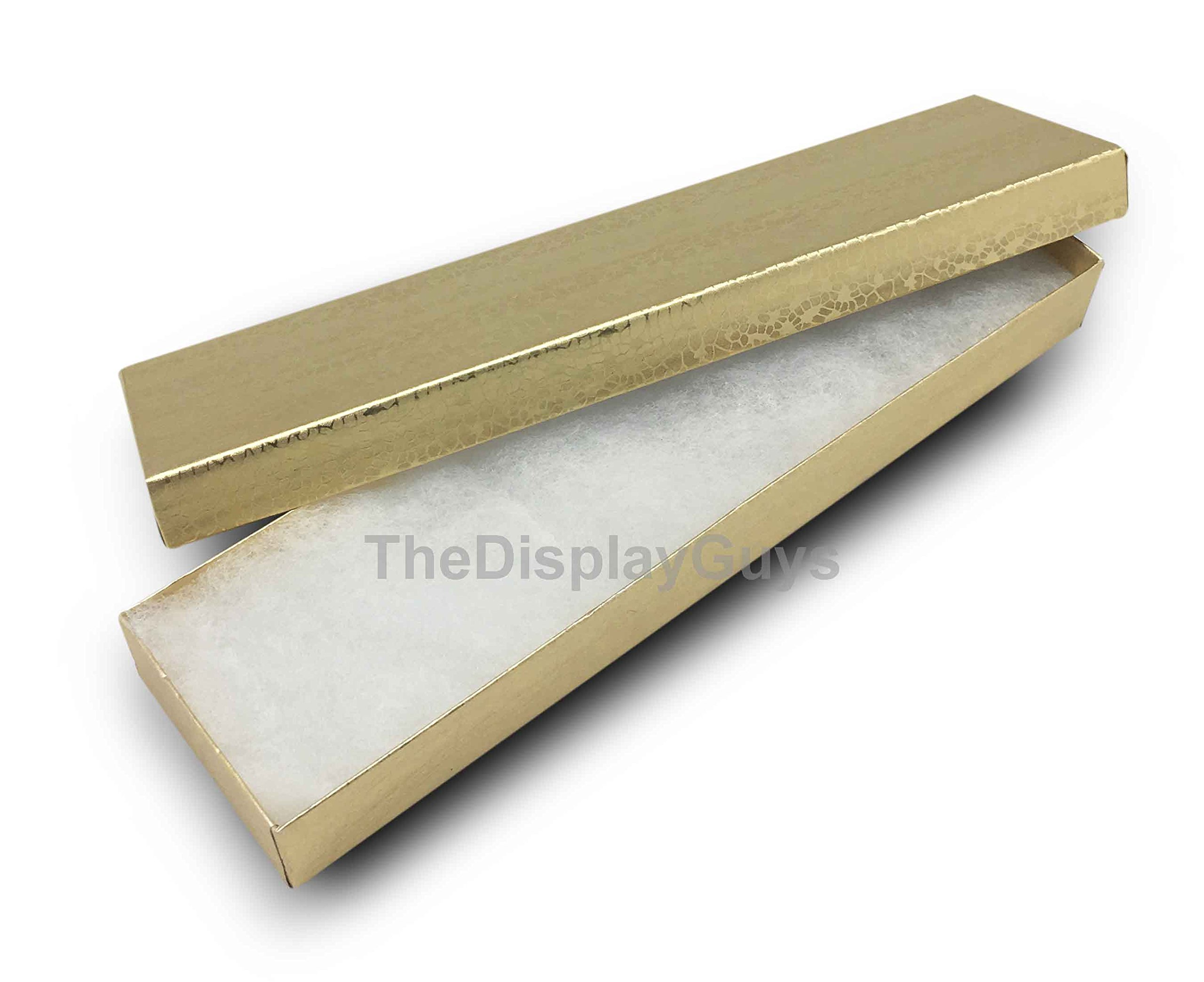The Display Guys, Pack of 25 Gold 8x2x1 inches Cotton Filled Paper Jewelry Box Gift Display Case(#82)