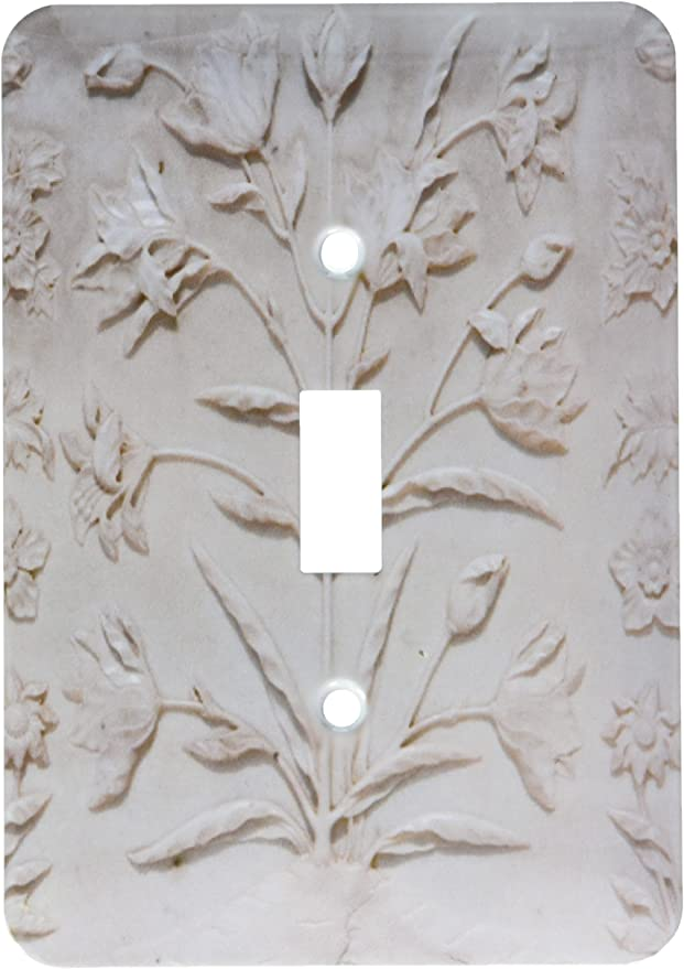 India Taj Mahal 3dRose lsp/_187368/_1 Agra Engraved Floral Designs in White Marble Single Toggle Switch