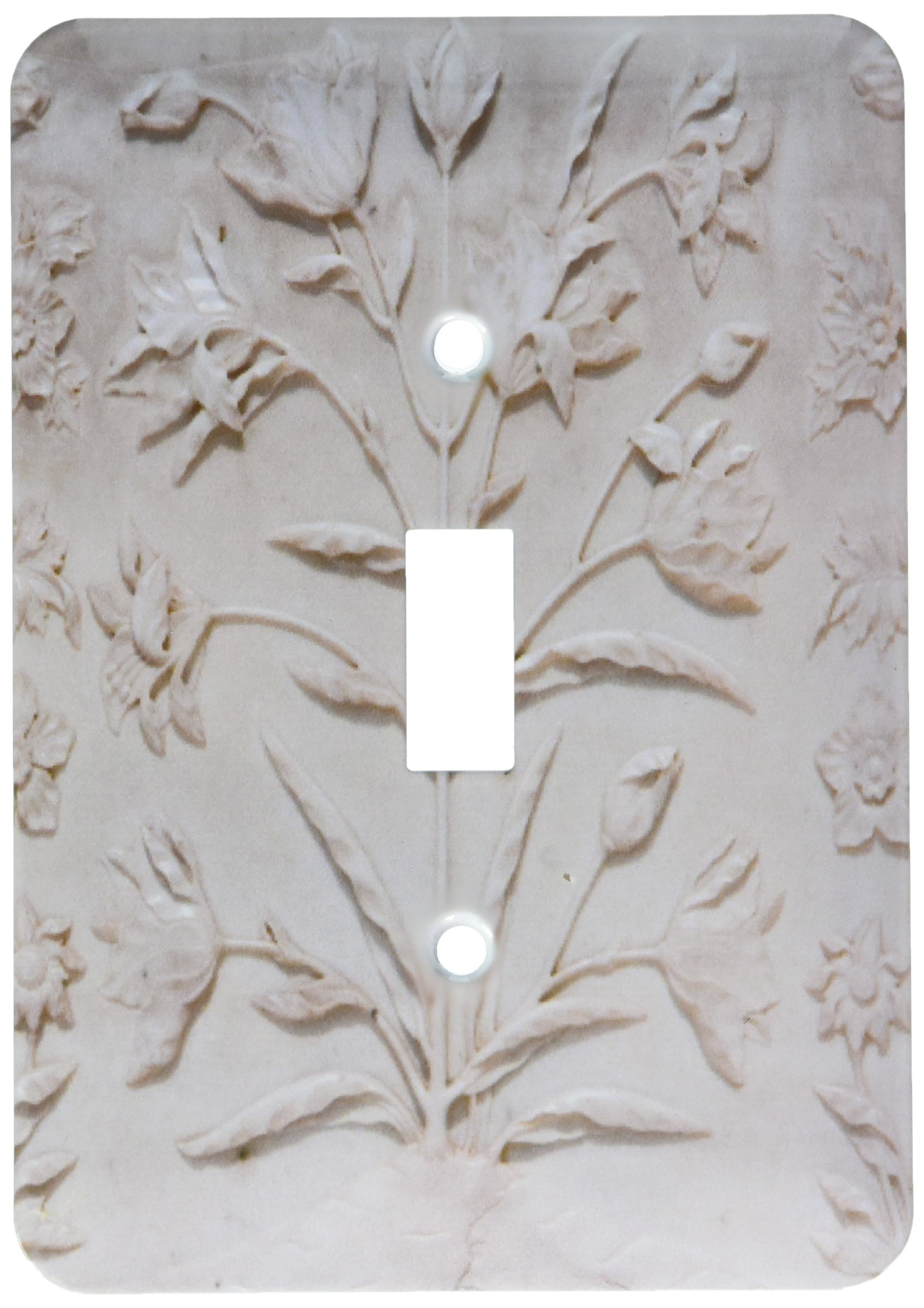 3dRose lsp_187368_1 Agra, India Taj Mahal, Engraved Floral Designs in White Marble Single Toggle Switch