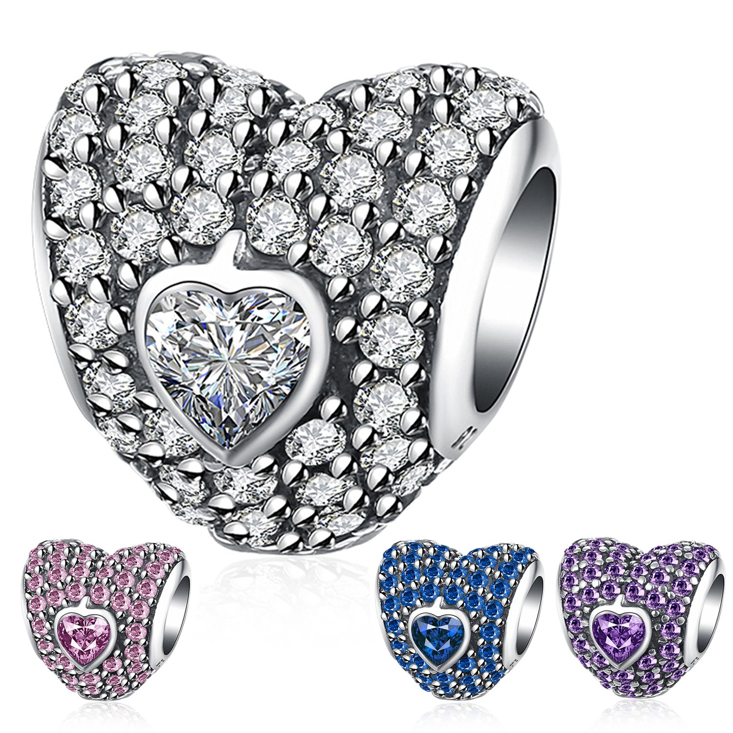 Ronglai Jewelry Sterling Silver Love Heart Bead Charm Pink Crystal Birthstone CZ Charms fit Snake Chain Bracelet 4 Styles (White birthstones charm)