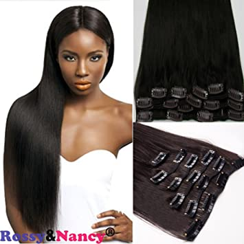 Rossy Nancy Hair Extension with Clip for Black Women Peruvian Virgin Hair  Clip Hair Extensions for Thin c2ddcbf67