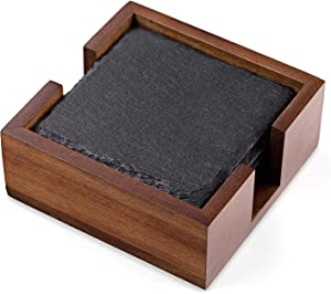 VersaChalk Rustic Slate Coaster Set with Wood Holder, 4 Square Stone Coasters for Drinks