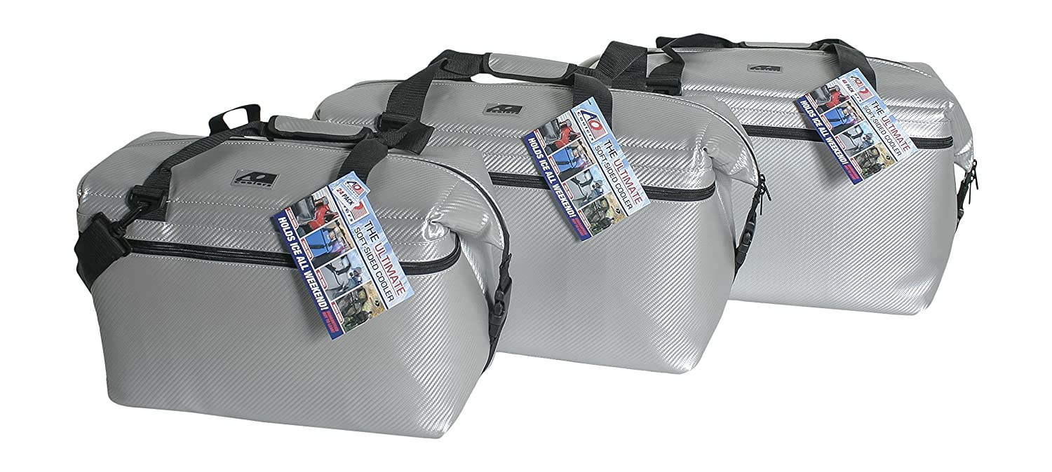 48 Pack Carbon Fiber Soft Sided AO Coolers 24 Hour Ice Chest Black or Silver