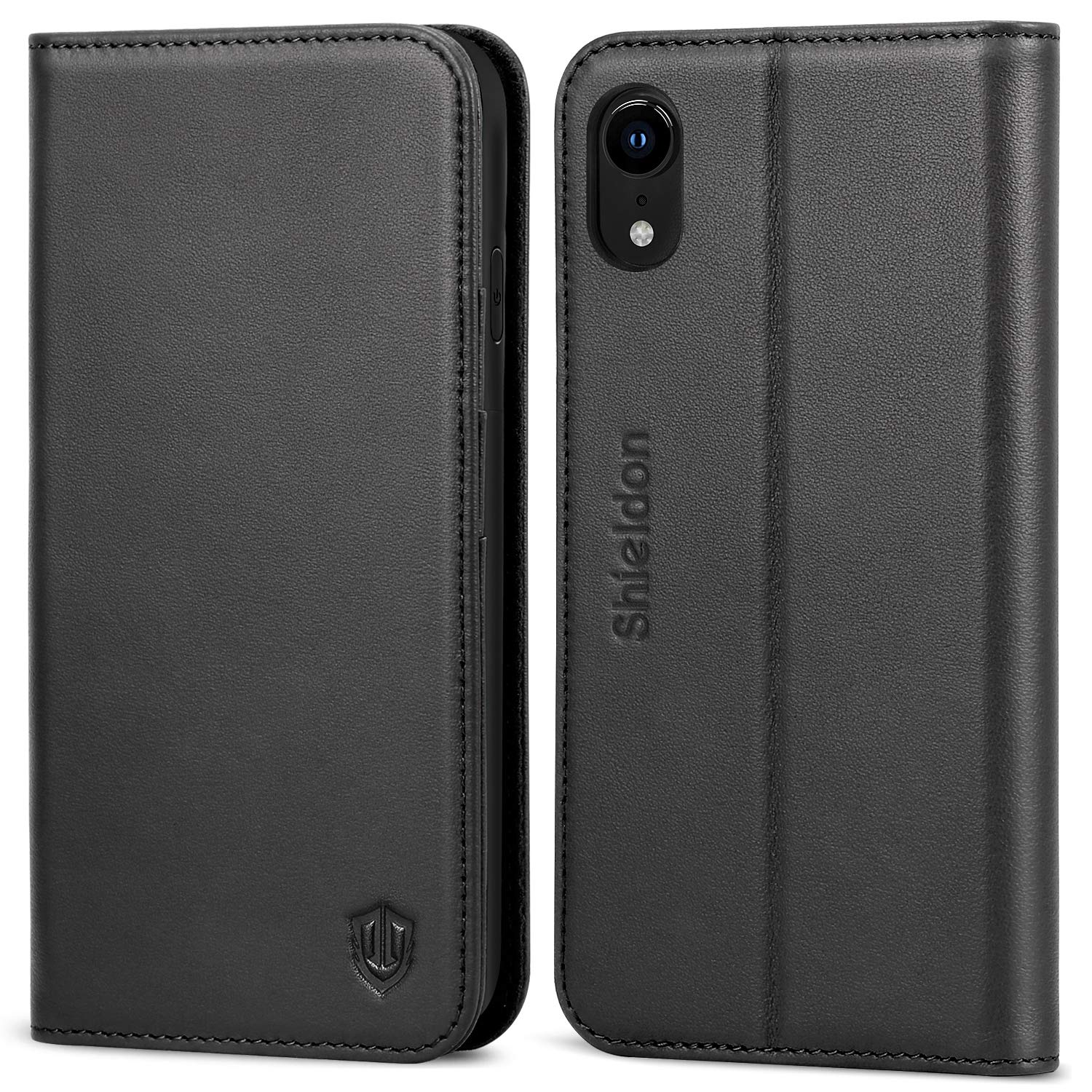 SHIELDON iPhone XR Case, Genuine Leather Flip iPhone XR Wallet Case with RFID Blocking Credit Card Holder Magnetic Closure Kickstand Compatible with iPhone XR (6.1 Inch 2018) - Black by SHIELDON