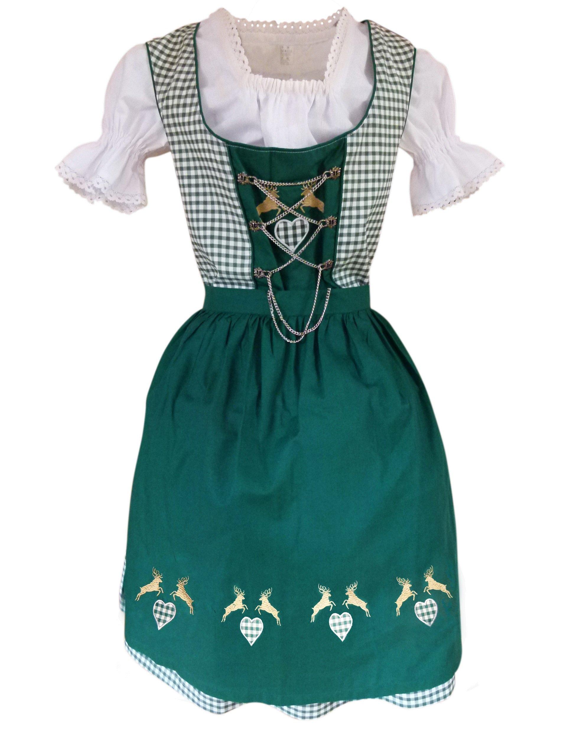 Dirndl World Womens Di18gw,3 Piece Midi Dirndl Dress, Green White, Blouse, Apron, Size 12