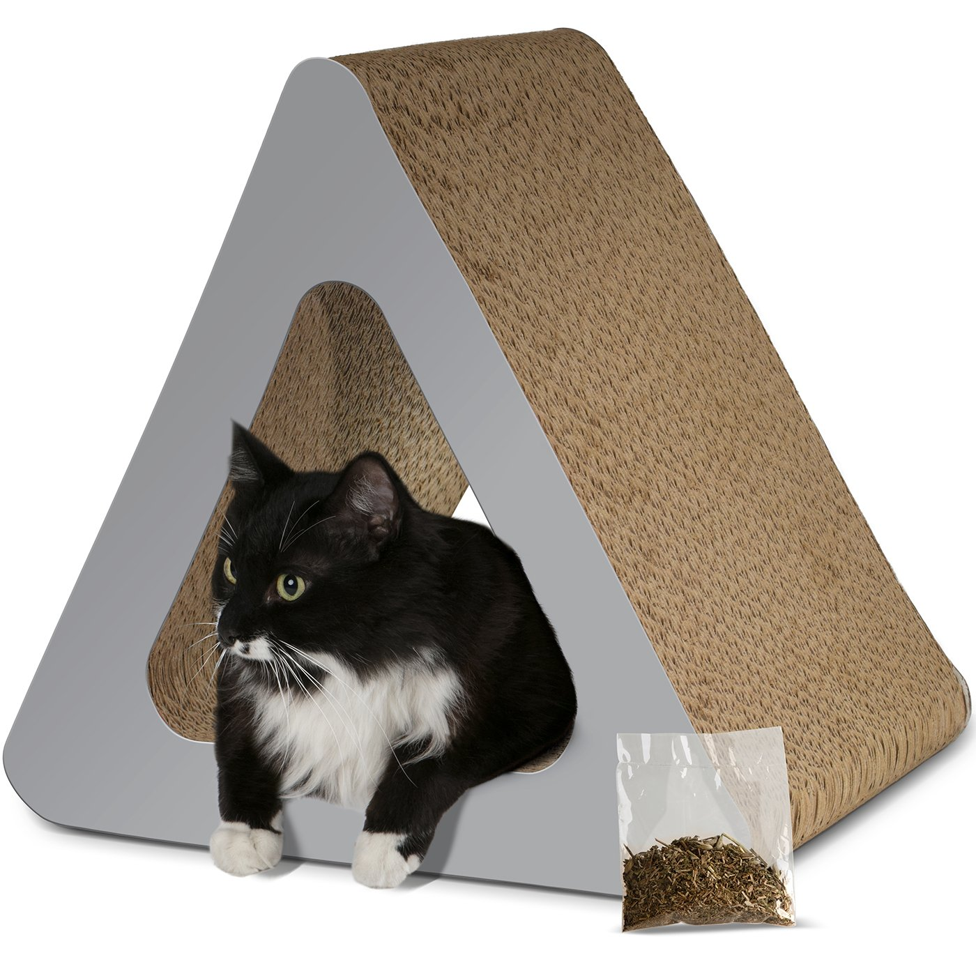 Paws & Pals 3-Sided Vertical Cat Scratcher Post - Different Cardboard Scratching Triangle Angles with Catnip - Gray