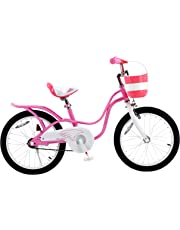 RoyalBaby Little Swan, Girl's Bike with Basket, Pink & White