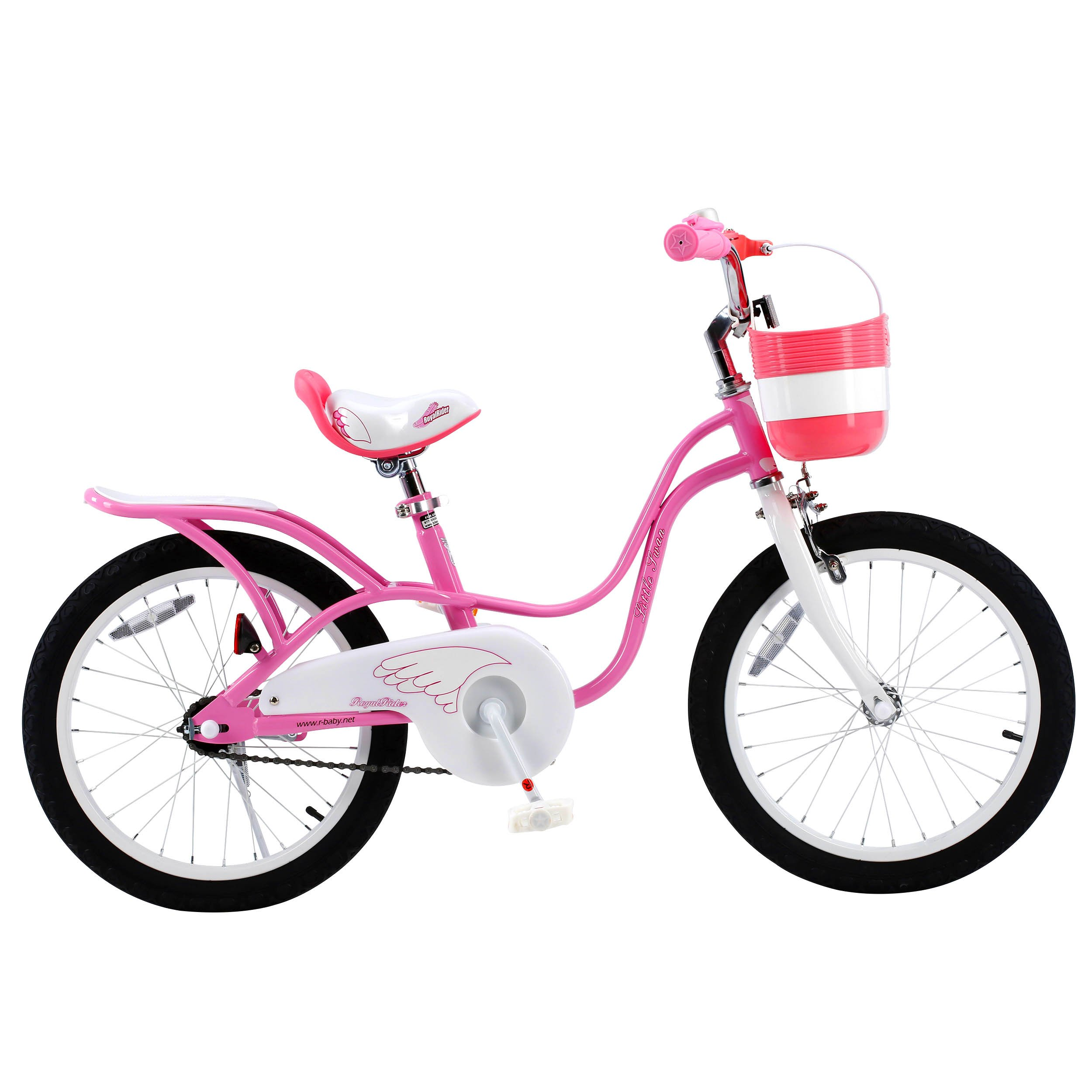 RoyalBaby Little Swan Girl's Bike with basket, 14, 16 or 18 inch girls bike with training wheels or kickstand, gifts for kids, girls' bicycles by Royalbaby