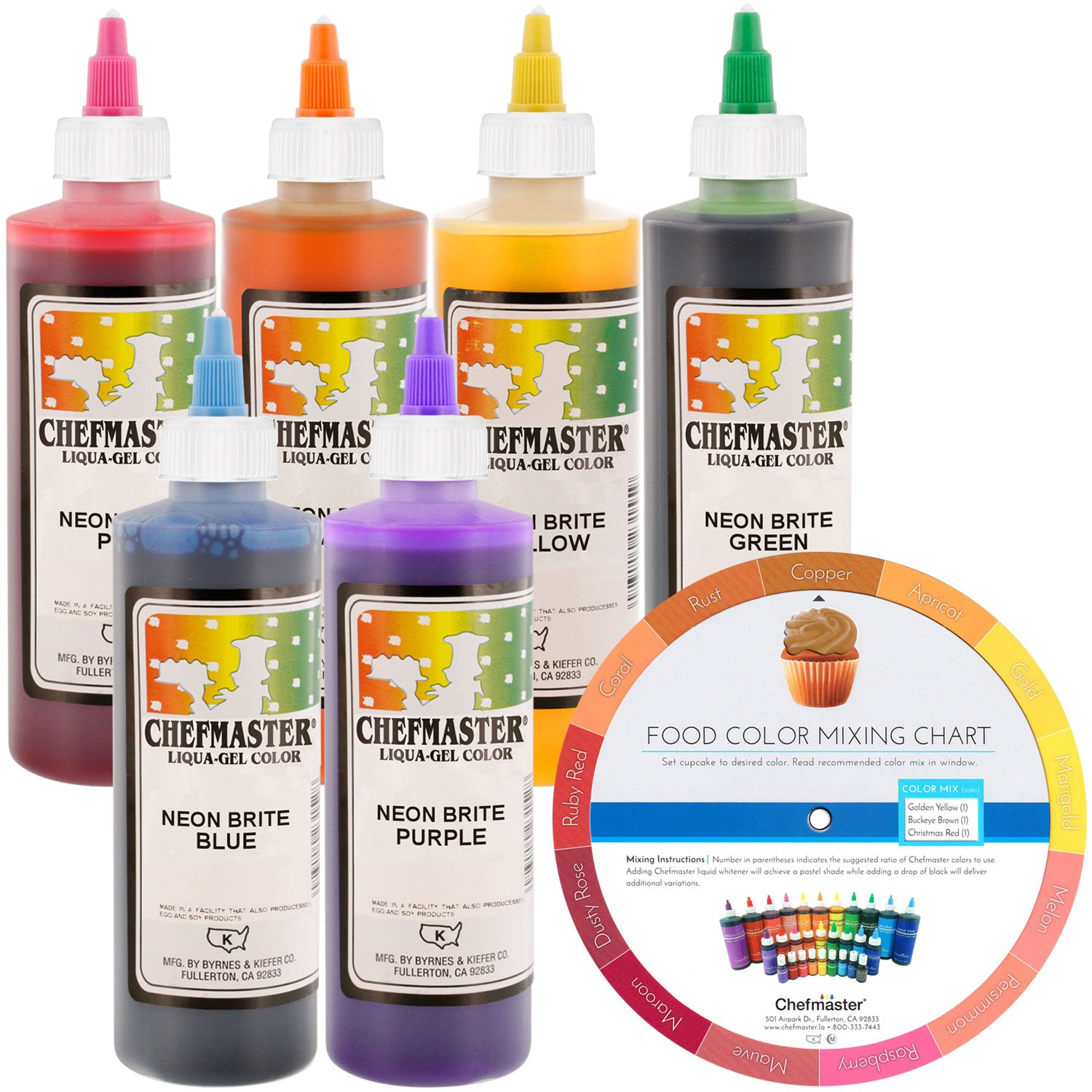 Chefmaster by US Cake Supply Liqua-Gel 10.5-Ounce Neon Cake Decorating 6 Color Kit by U.S. Cake Supply