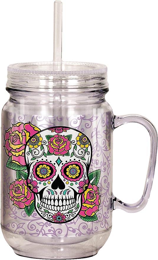 Spoontiques Sugar Skull Mason Jar, 18 ounces, Multicolor