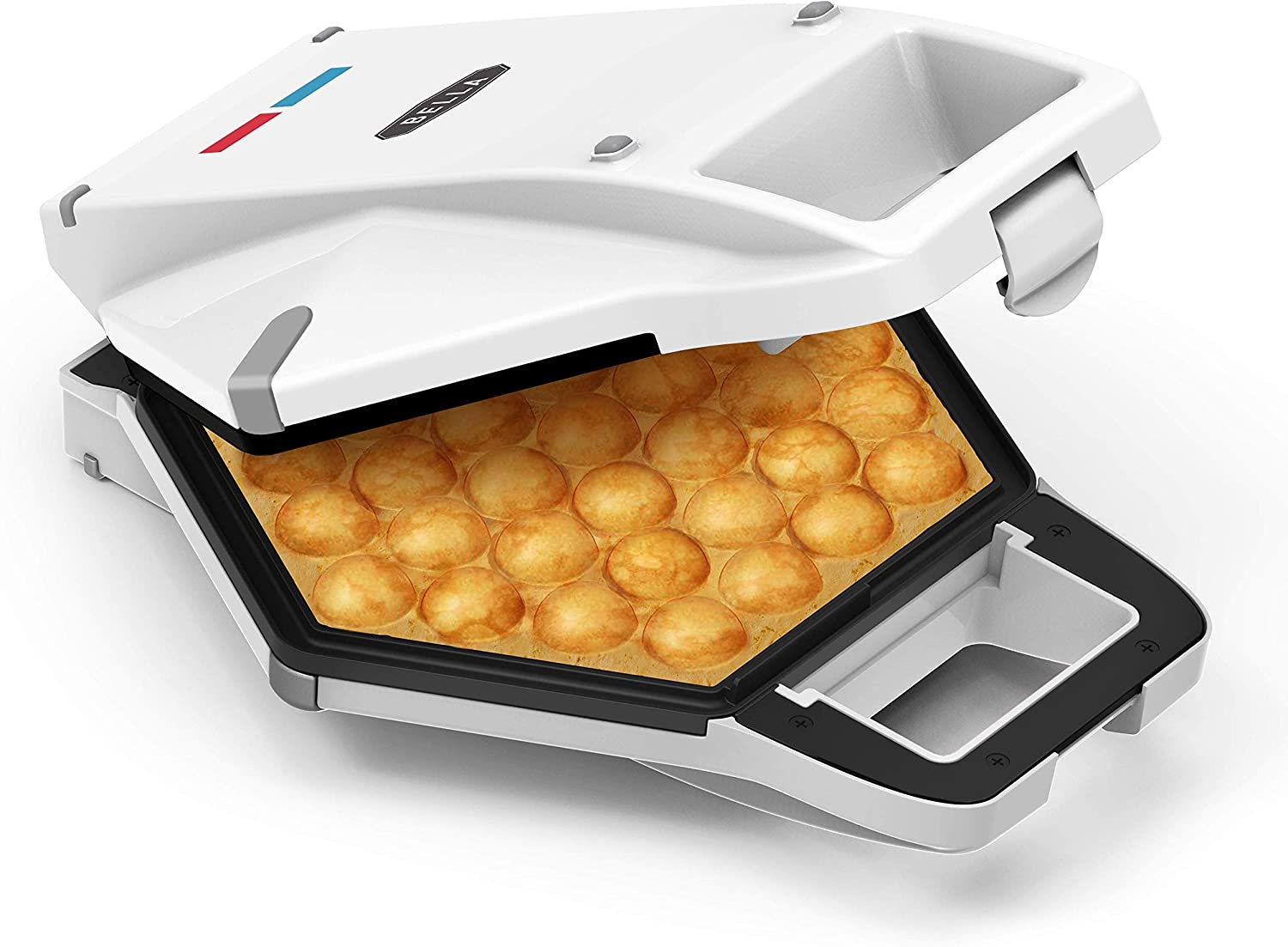 """BELLA 17175 Bubble Maker w Cone Rack, Rapid Quickly Make Fluffy 9"""" Authentic Hong Kong Breakfast or Dessert Waffles, Healthy-Eco Non Stick Coating, Easy to Clean Iron, Included, White"""