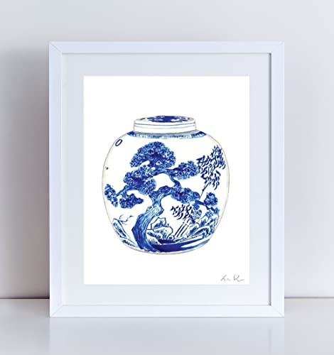 Amazoncom Blue And White China Ginger Jar Print Vase 9 Watercolor